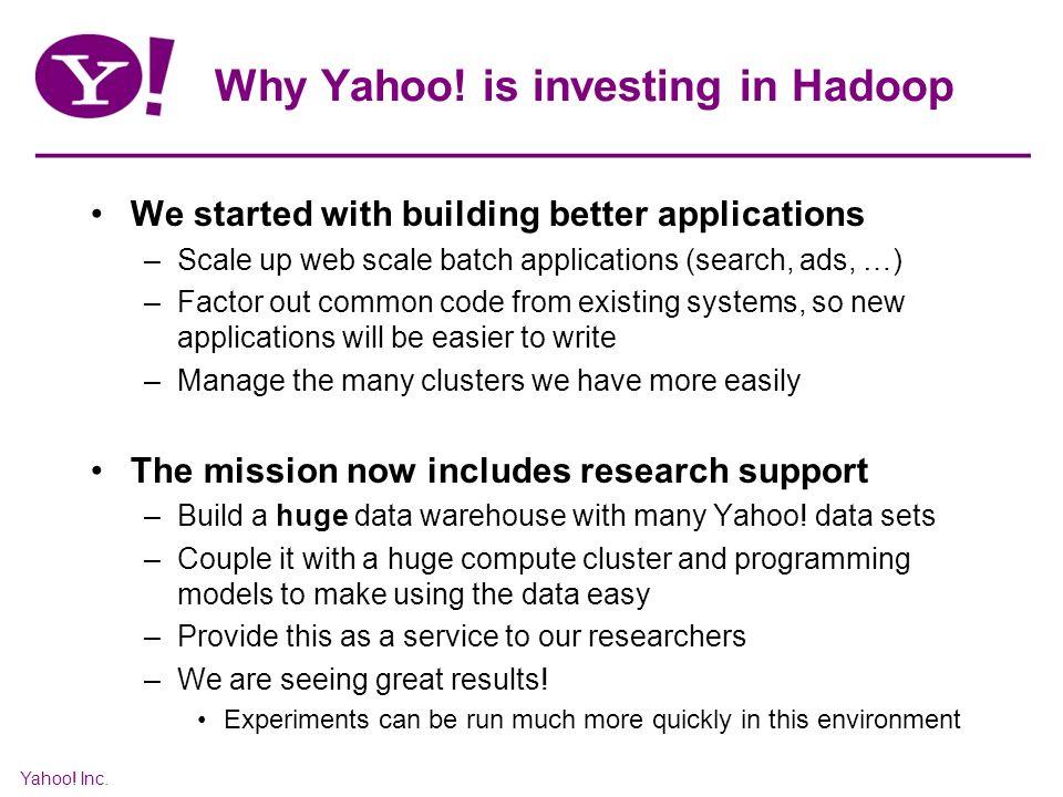 Yahoo. Inc. Why Yahoo.