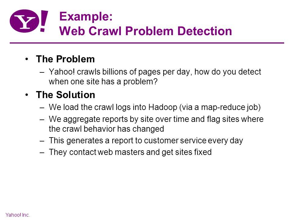 Yahoo. Inc. Example: Web Crawl Problem Detection The Problem –Yahoo.