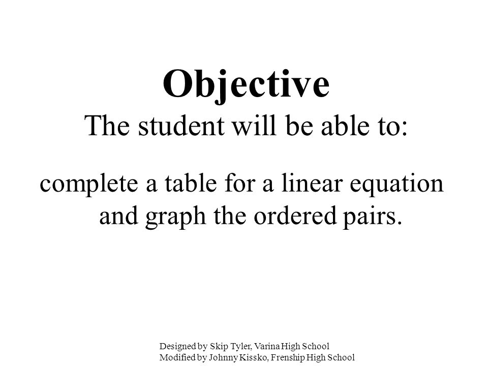 complete a table for a linear equation and graph the ordered pairs. Objective The student will be able to: Designed by Skip Tyler, Varina High School
