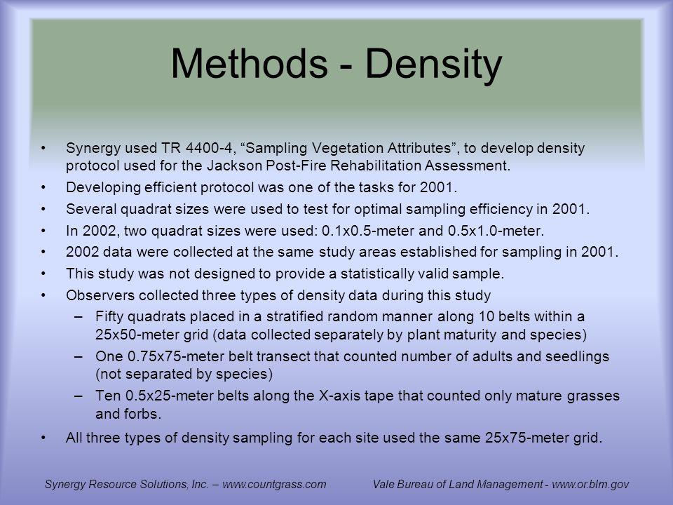 Methods - Density Synergy used TR 4400-4, Sampling Vegetation Attributes, to develop density protocol used for the Jackson Post-Fire Rehabilitation Assessment.