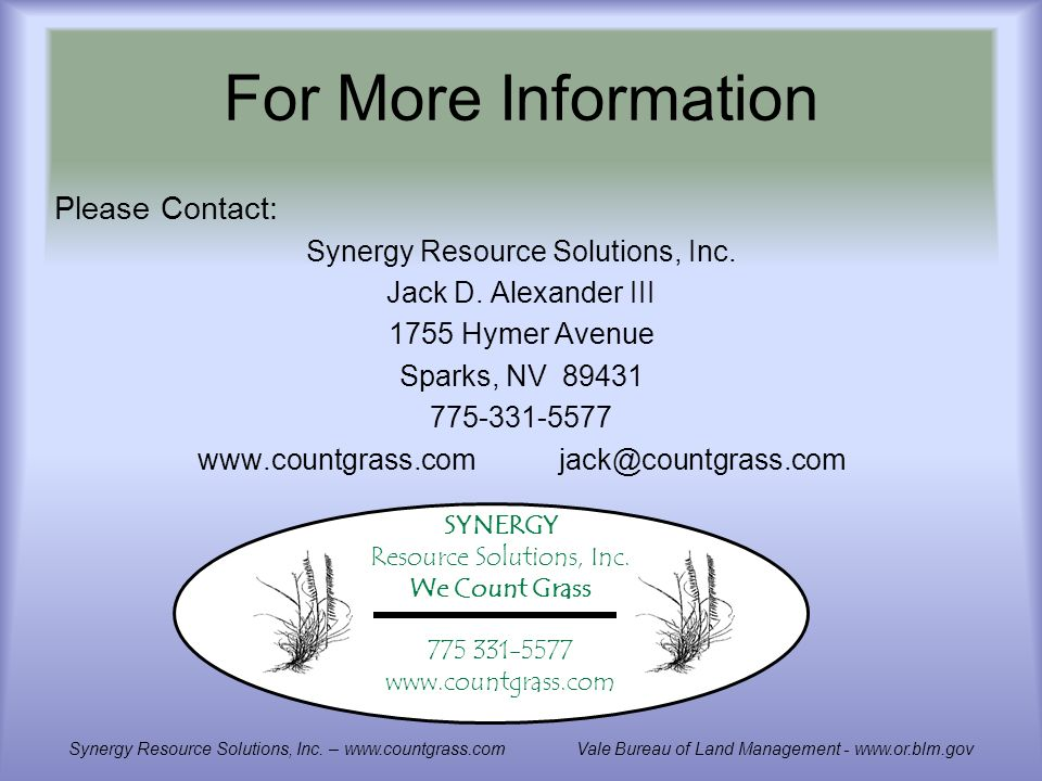 For More Information Please Contact: Synergy Resource Solutions, Inc.