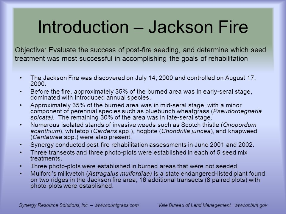 Introduction – Jackson Fire The Jackson Fire was discovered on July 14, 2000 and controlled on August 17, 2000.