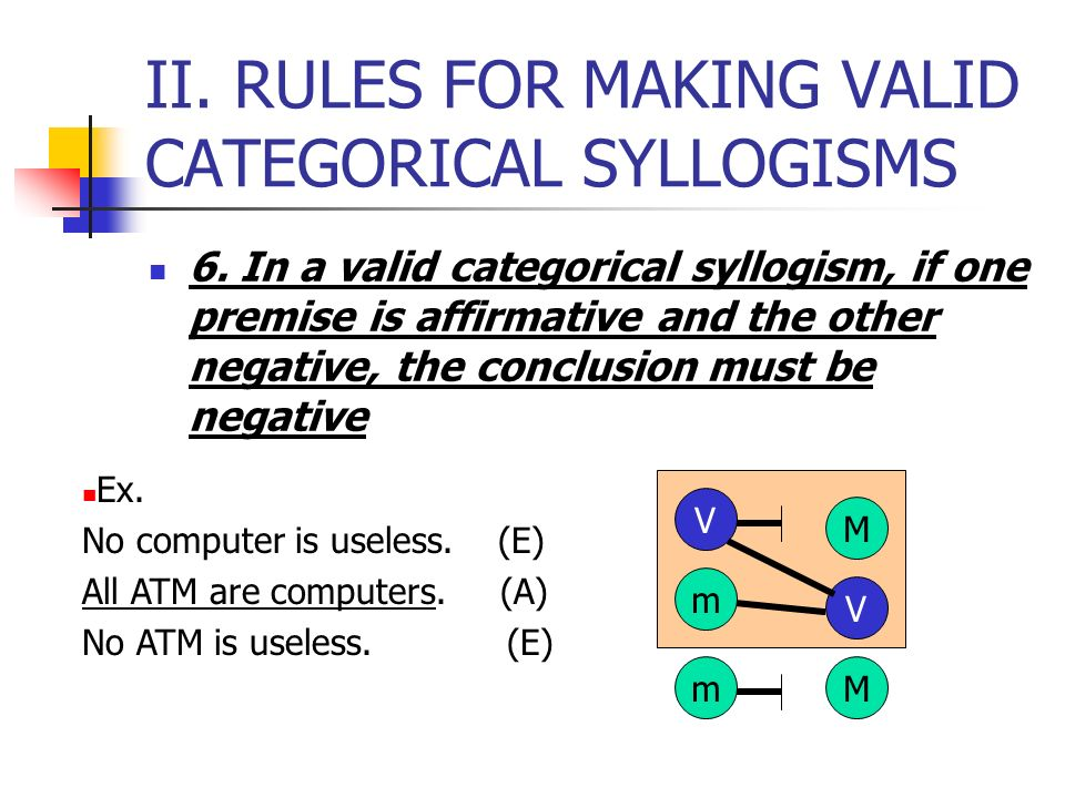II. RULES FOR MAKING VALID CATEGORICAL SYLLOGISMS Ex. All gamblers are risk-takers. (A) Some Filipinos are gamblers. (I) Some Filipinos are risk-taker