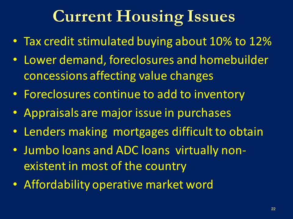 Current Housing Issues Tax credit stimulated buying about 10% to 12% Lower demand, foreclosures and homebuilder concessions affecting value changes Foreclosures continue to add to inventory Appraisals are major issue in purchases Lenders making mortgages difficult to obtain Jumbo loans and ADC loans virtually non- existent in most of the country Affordability operative market word 22