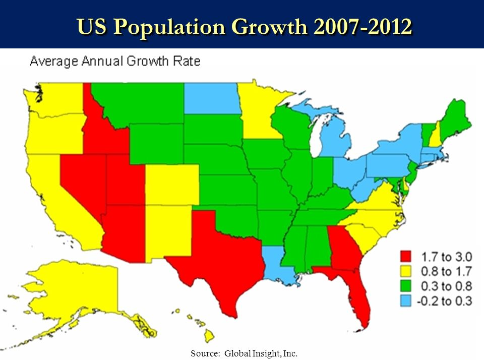 48 US Population Growth 2007-2012 Source: Global Insight, Inc.