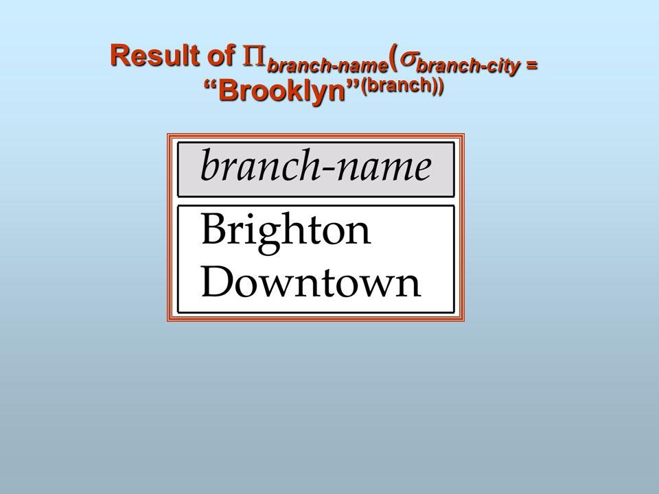 Result of branch-name ( branch-city = Brooklyn (branch))