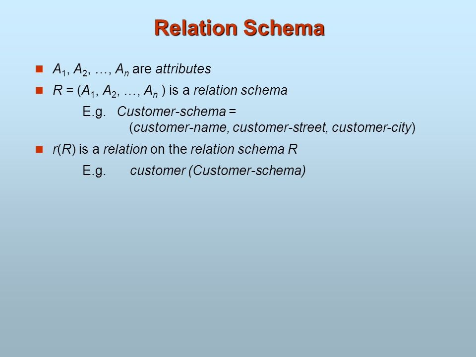 Relation Schema A 1, A 2, …, A n are attributes R = (A 1, A 2, …, A n ) is a relation schema E.g. Customer-schema = (customer-name, customer-street, c