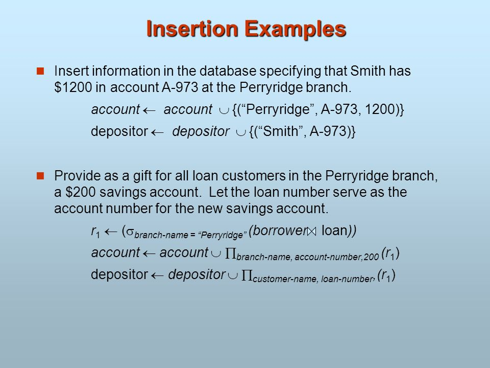 Insertion Examples Insert information in the database specifying that Smith has $1200 in account A-973 at the Perryridge branch. account account {(Per