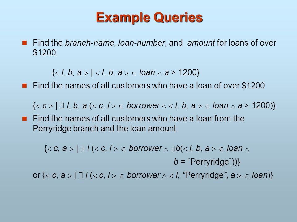 Example Queries Find the branch-name, loan-number, and amount for loans of over $1200 { l, b, a | l, b, a loan a > 1200} Find the names of all custome