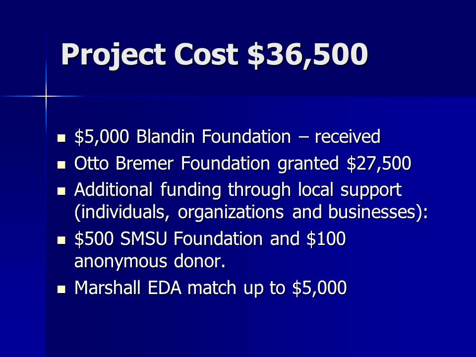 Project Cost $36,500 $5,000 Blandin Foundation – received $5,000 Blandin Foundation – received Otto Bremer Foundation granted $27,500 Otto Bremer Foundation granted $27,500 Additional funding through local support (individuals, organizations and businesses): Additional funding through local support (individuals, organizations and businesses): $500 SMSU Foundation and $100 anonymous donor.