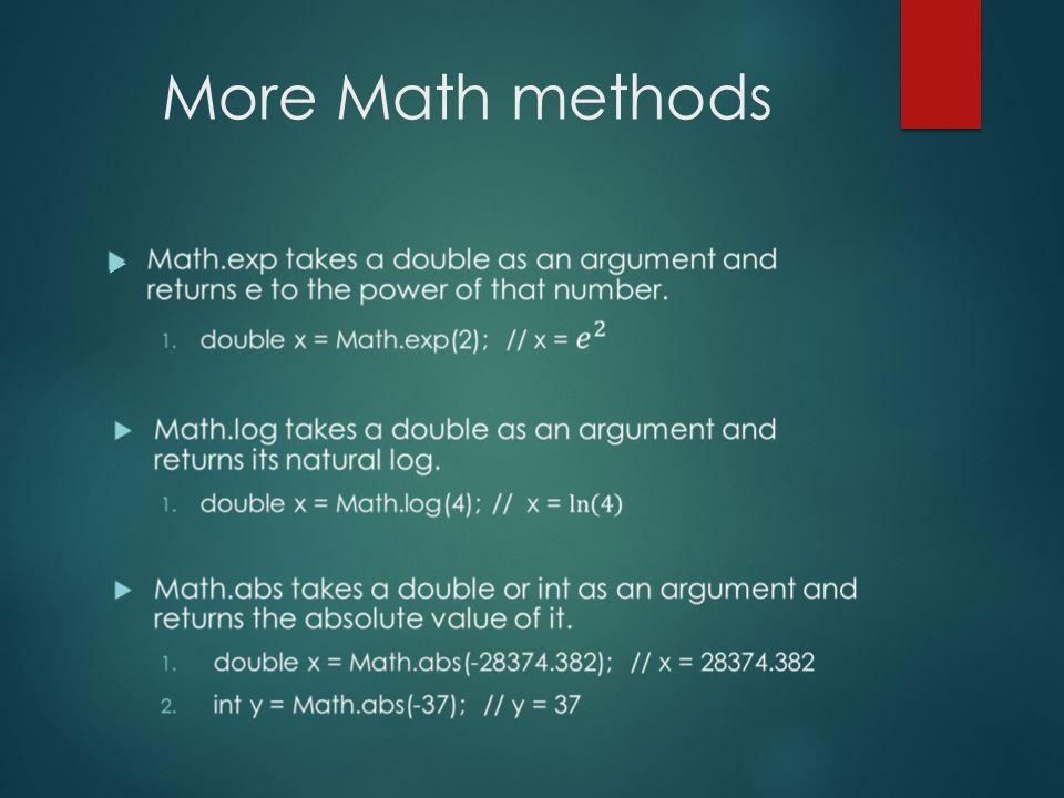 More Math methods