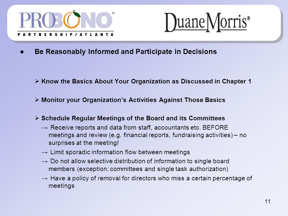 Be Reasonably Informed and Participate in Decisions Know the Basics About Your Organization as Discussed in Chapter 1 Monitor your Organizations Activ