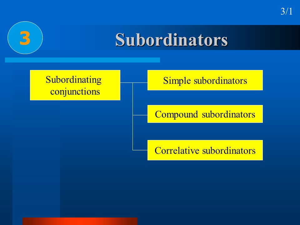 Subordinators 3 3/1 Subordinating conjunctions Simple subordinators Compound subordinators Correlative subordinators