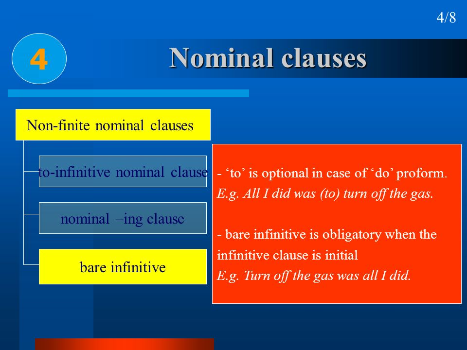 Nominal clauses 4 4/8 Non-finite nominal clauses to-infinitive nominal clause nominal –ing clause bare infinitive - to is optional in case of do profo