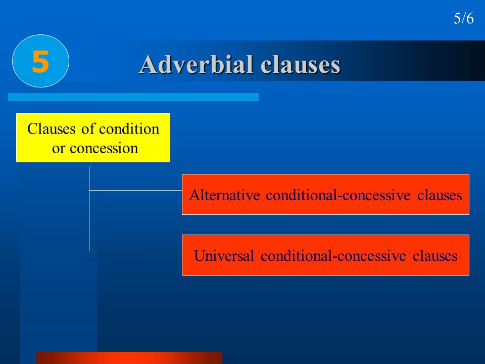 Adverbial clauses 5 5/6 Clauses of condition or concession Alternative conditional-concessive clauses Universal conditional-concessive clauses
