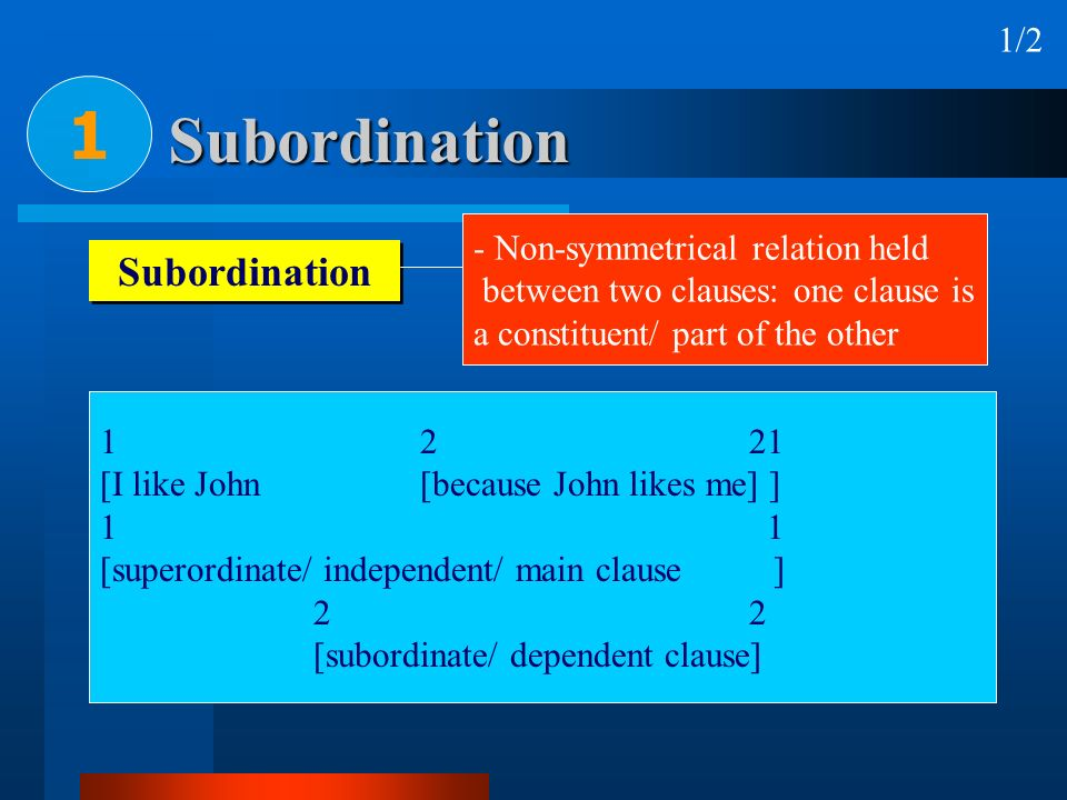 Subordination 1 1/2 Subordination i.e. one clause is -Non-symmetrical relation, a constituent/ part of the other 1 2 21 [I like John [because John lik