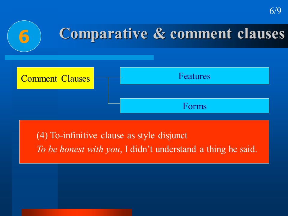 Comparative & comment clauses 6 6/9 Comment Clauses Features Forms (4) To-infinitive clause as style disjunct To be honest with you, I didnt understan