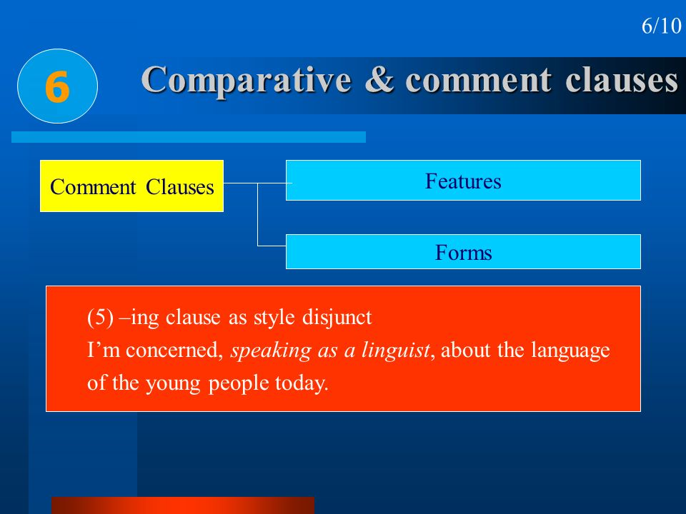 Comparative & comment clauses 6 6/10 Comment Clauses Features Forms (5) –ing clause as style disjunct Im concerned, speaking as a linguist, about the