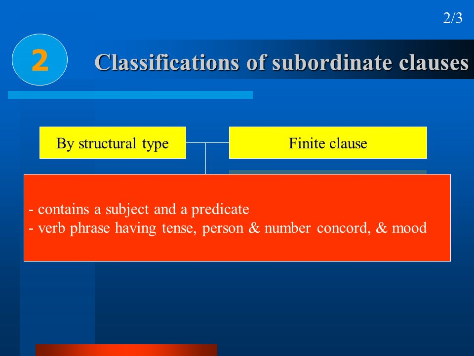 Classifications of subordinate clauses 2 2/3 By structural typeFinite clause Nonfinite clause Verbless clause - contains a subject and a predicate - v