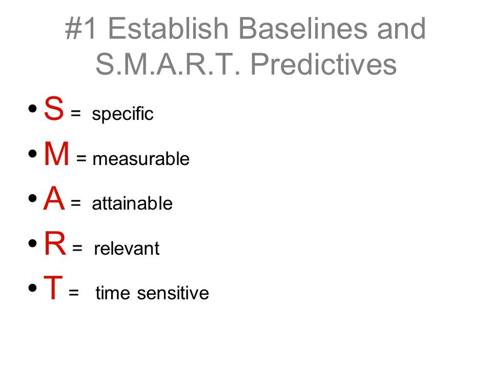 S = specific M = measurable A = attainable R = relevant T = time sensitive