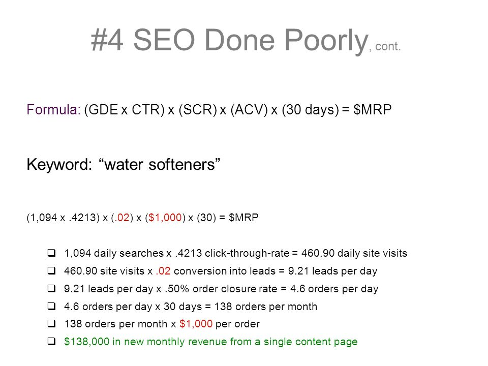 #4 SEO Done Poorly, cont.