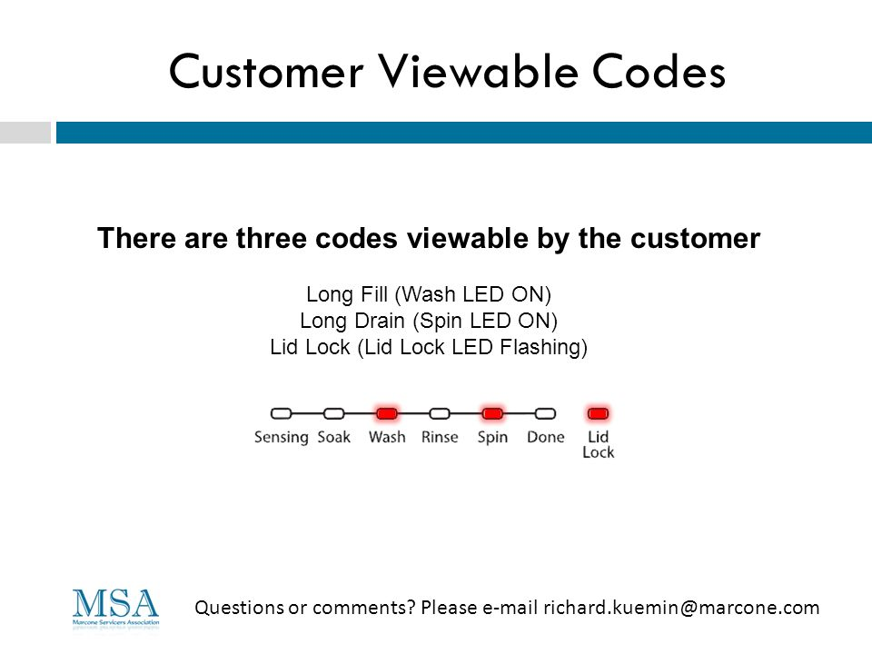 Customer Viewable Codes Questions or comments? Please e-mail richard.kuemin@marcone.com There are three codes viewable by the customer Long Fill (Wash