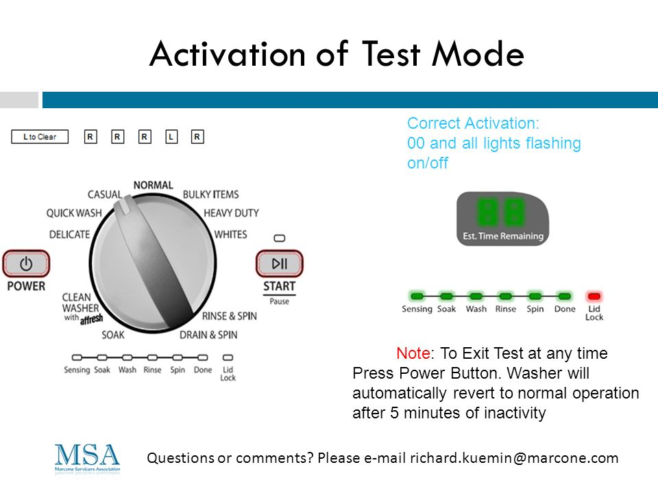 Activation of Test Mode Questions or comments? Please e-mail richard.kuemin@marcone.com Correct Activation: 00 and all lights flashing on/off Note: To