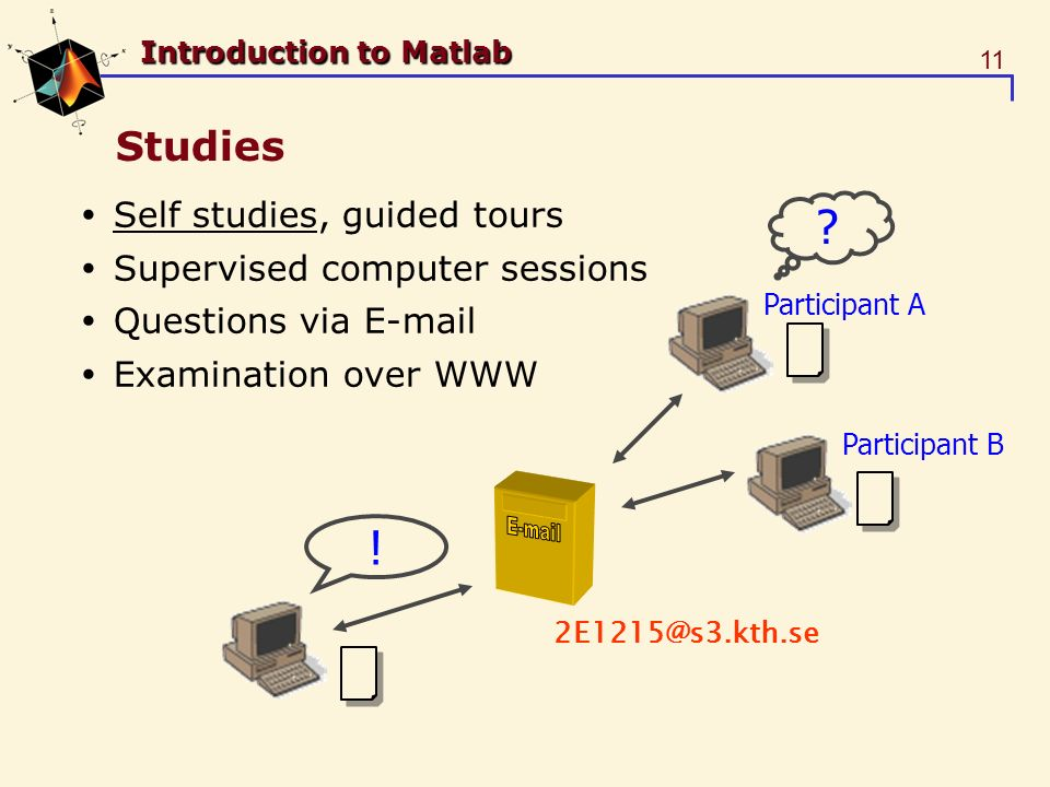 11 Introduction to Matlab Studies Self studies, guided tours Supervised computer sessions Questions via E-mail Examination over WWW Participant A Participant B .