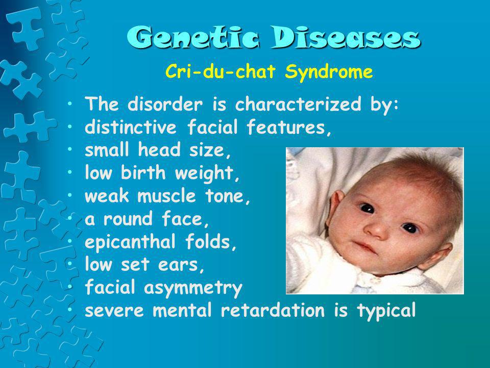 Genetic Diseases Cri-du-chat Syndrome The disorder is characterized by: distinctive facial features, small head size, low birth weight, weak muscle to