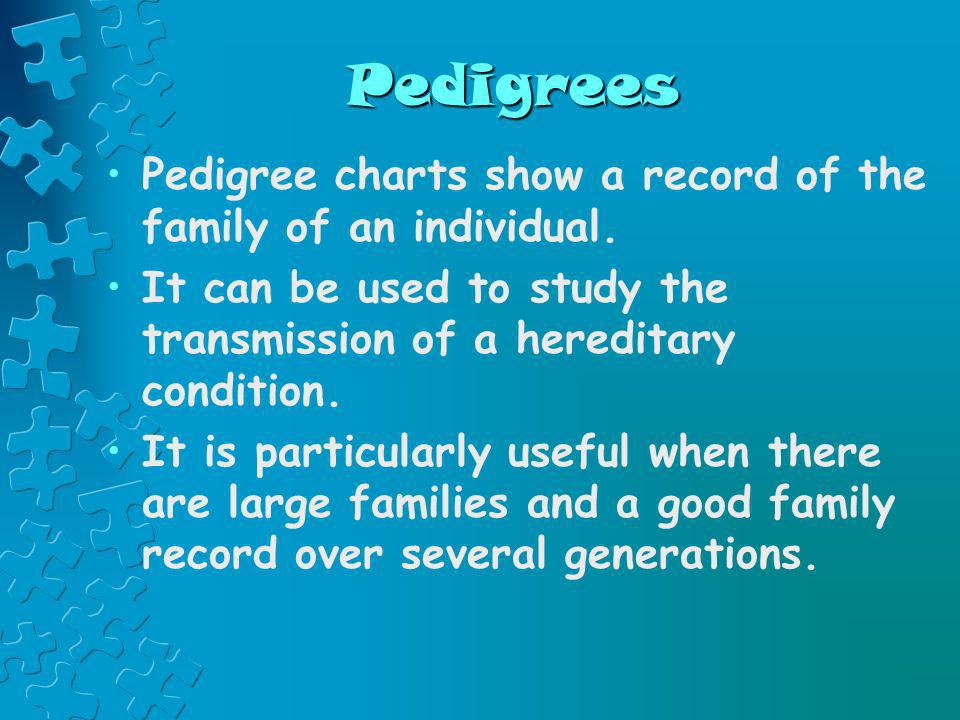 Pedigrees Pedigree charts show a record of the family of an individual. It can be used to study the transmission of a hereditary condition. It is part