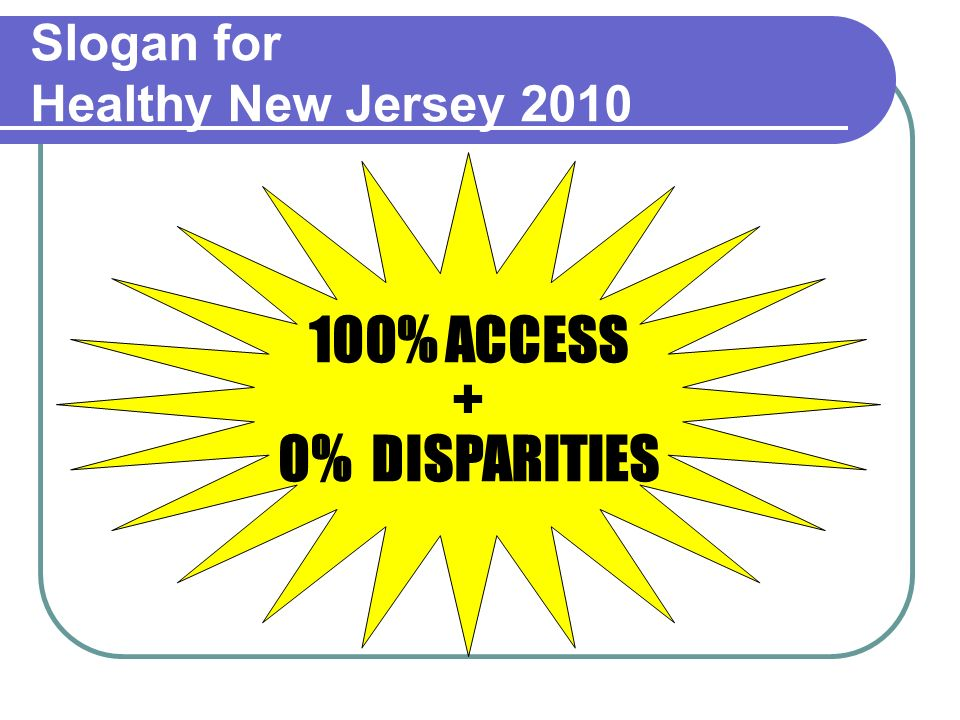 Slogan for Healthy New Jersey 2010 100% ACCESS + 0% DISPARITIES