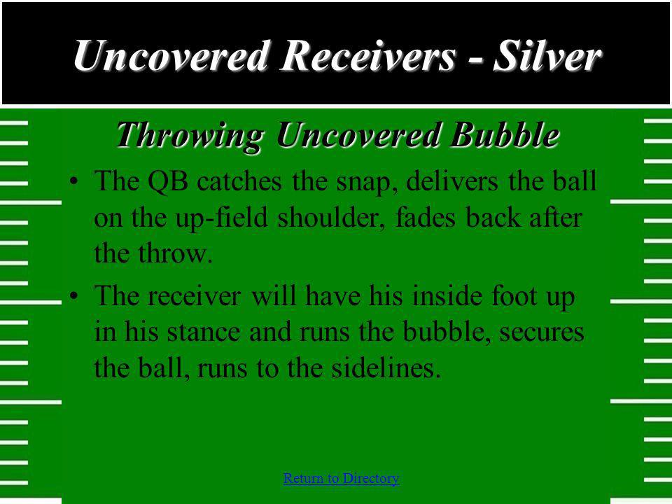 Return to Directory Throwing Uncovered Bubble The QB catches the snap, delivers the ball on the up-field shoulder, fades back after the throw. The rec