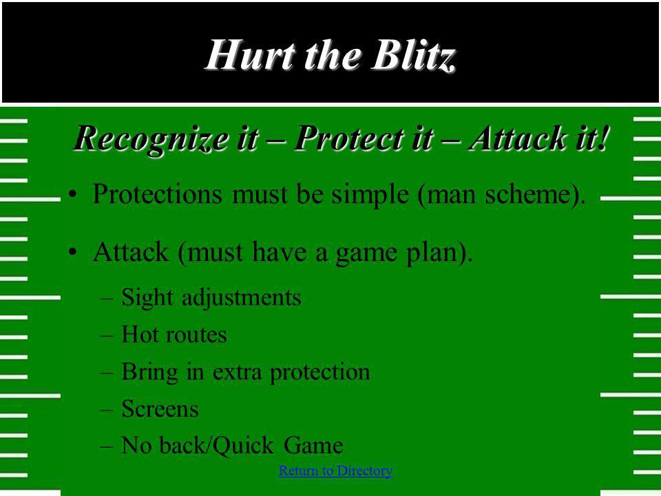 Return to Directory Recognize it – Protect it – Attack it! Protections must be simple (man scheme). Attack (must have a game plan). –Sight adjustments