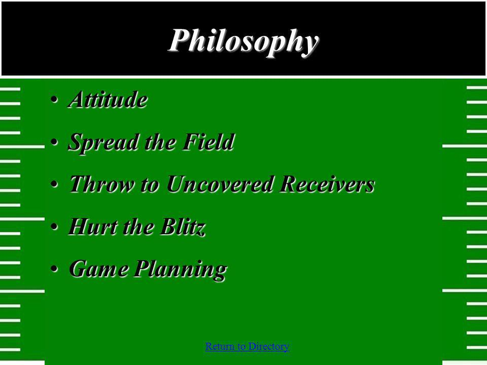 Return to Directory AttitudeAttitude Spread the FieldSpread the Field Throw to Uncovered ReceiversThrow to Uncovered Receivers Hurt the BlitzHurt the