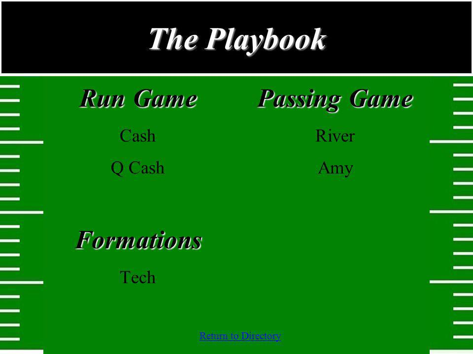 Return to Directory Run Game Cash Q CashFormations Tech Passing Game River Amy The Playbook