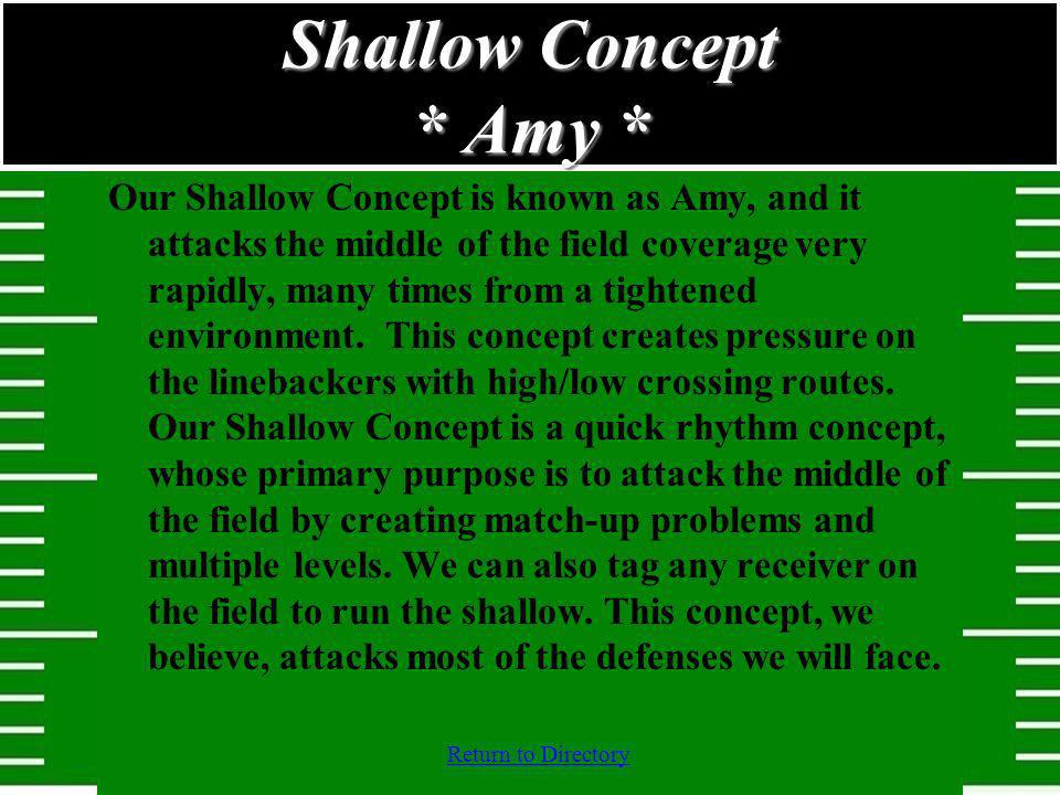 Shallow Concept * Amy * Our Shallow Concept is known as Amy, and it attacks the middle of the field coverage very rapidly, many times from a tightened