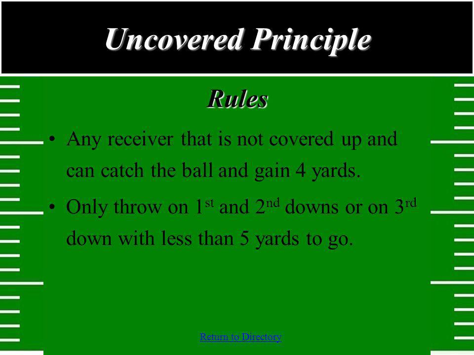 Return to DirectoryRules Any receiver that is not covered up and can catch the ball and gain 4 yards. Only throw on 1 st and 2 nd downs or on 3 rd dow
