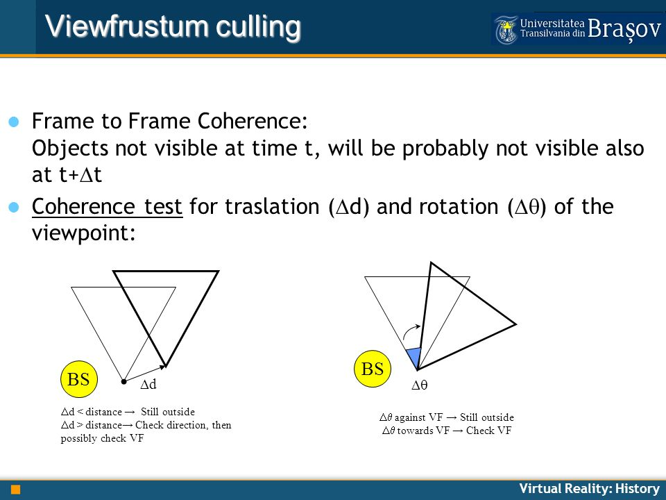 Virtual Reality: History Frame to Frame Coherence: Objects not visible at time t, will be probably not visible also at t+ t Coherence test for traslat