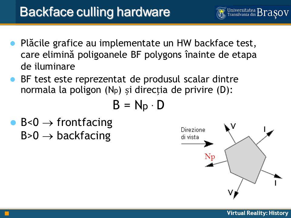 Virtual Reality: History Backface culling hardware Plăcile grafice au implementate un HW backface test, care elimină poligoanele BF polygons înainte d