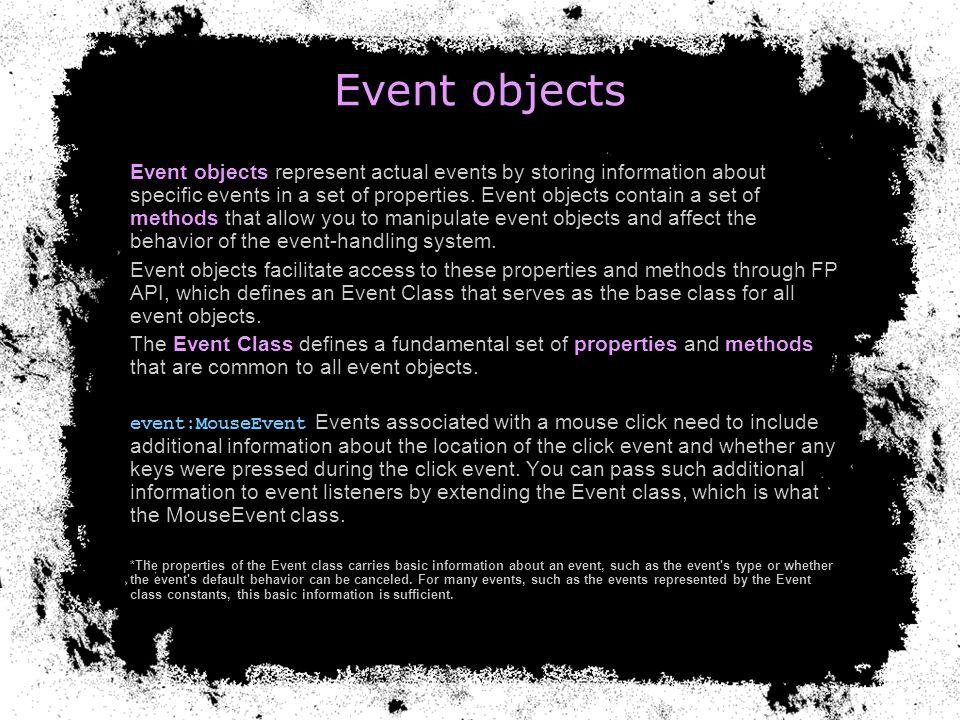 Event Dispatcher Event handling in ActionScript 3.0 depends heavily on the EventDispatcher class.
