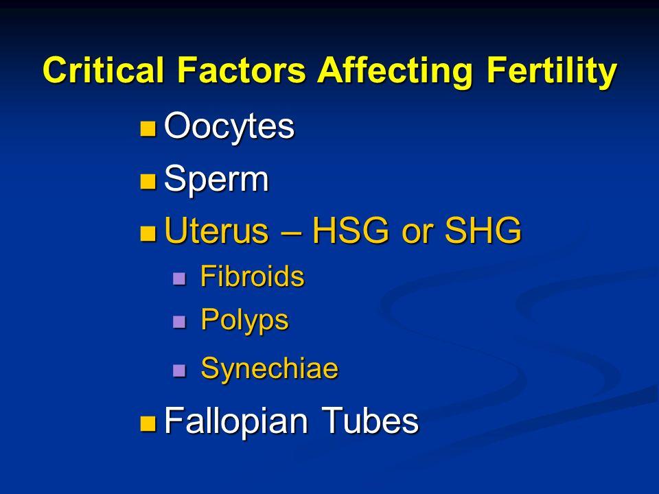 Critical Factors Affecting Fertility Oocytes Oocytes Sperm Sperm Uterus – HSG or SHG Uterus – HSG or SHG Fibroids Fibroids Polyps Polyps Synechiae Syn