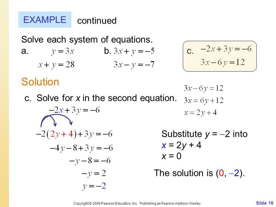 Slide 16 Copyright © 2009 Pearson Education, Inc. Publishing as Pearson Addison-Wesley EXAMPLE Solution continued Solve each system of equations. a.b.