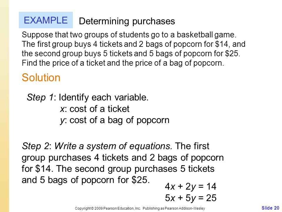 Slide 20 Copyright © 2009 Pearson Education, Inc. Publishing as Pearson Addison-Wesley EXAMPLE Solution Determining purchases Suppose that two groups
