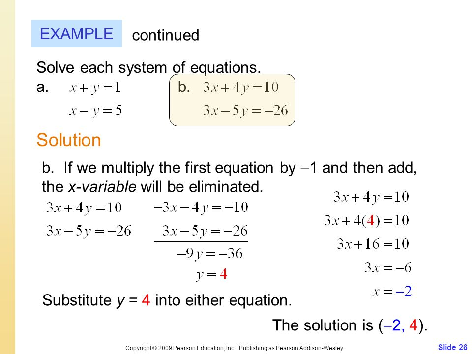 Slide 26 Copyright © 2009 Pearson Education, Inc. Publishing as Pearson Addison-Wesley EXAMPLE Solution continued Solve each system of equations. a.b.