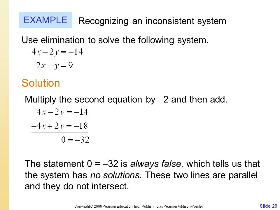 Slide 29 Copyright © 2009 Pearson Education, Inc. Publishing as Pearson Addison-Wesley EXAMPLE Solution Recognizing an inconsistent system Use elimina
