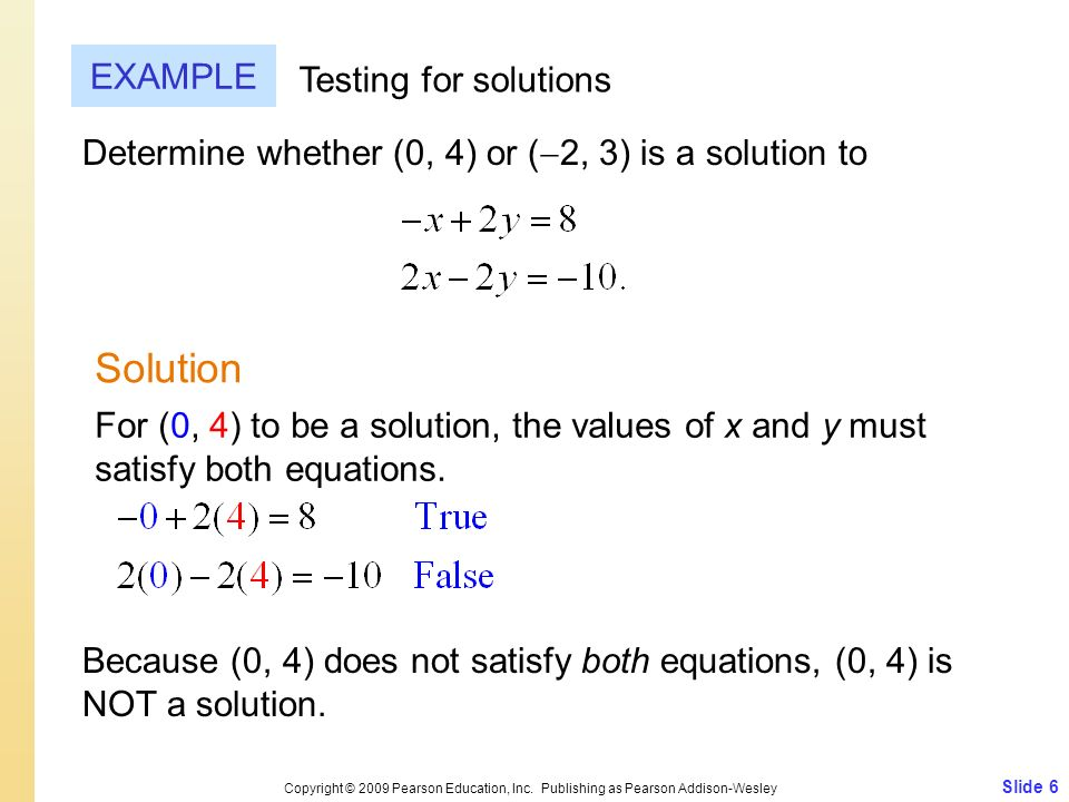 Slide 6 Copyright © 2009 Pearson Education, Inc. Publishing as Pearson Addison-Wesley EXAMPLE Solution Testing for solutions Determine whether (0, 4)