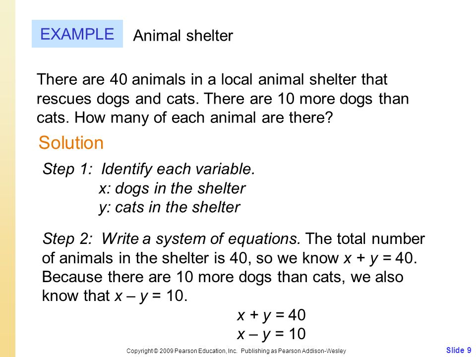 Slide 9 Copyright © 2009 Pearson Education, Inc. Publishing as Pearson Addison-Wesley EXAMPLE Solution Animal shelter There are 40 animals in a local