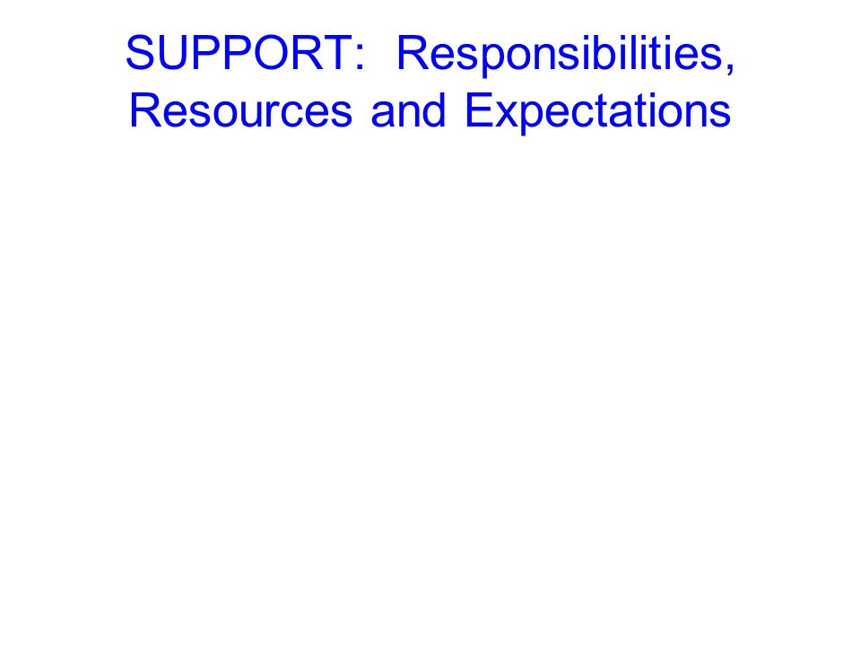 SUPPORT: Responsibilities, Resources and Expectations