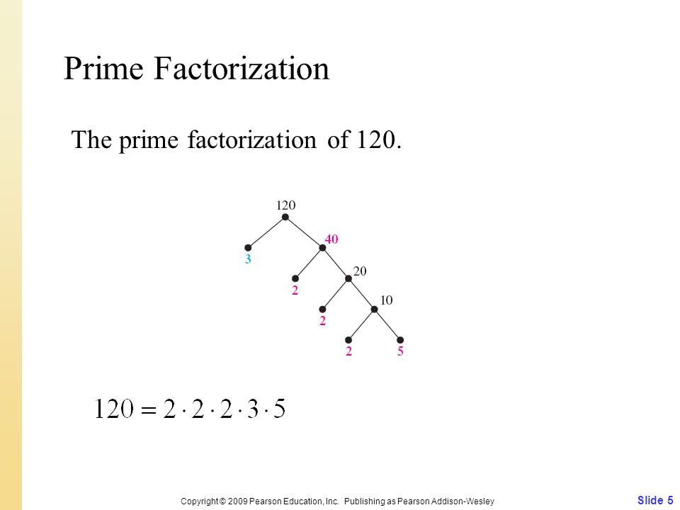 Prime Factorization The prime factorization of 120. Slide 5 Copyright © 2009 Pearson Education, Inc. Publishing as Pearson Addison-Wesley