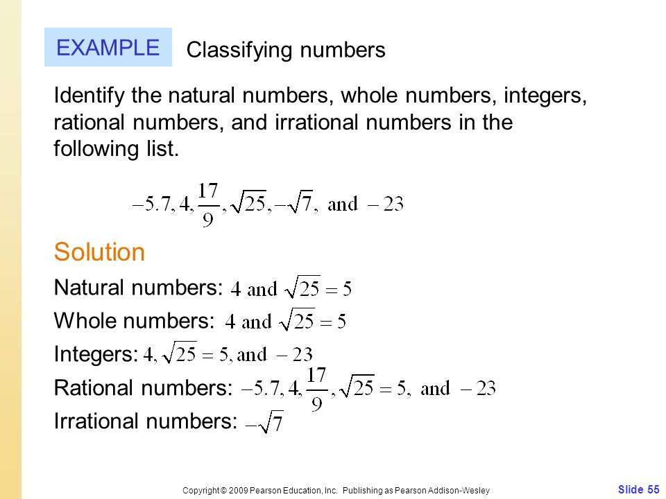 Slide 55 Copyright © 2009 Pearson Education, Inc. Publishing as Pearson Addison-Wesley EXAMPLE Solution Classifying numbers Identify the natural numbe